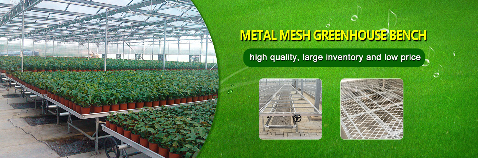 Welded mesh rolling bench greenhouse benches
