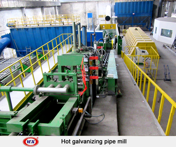 Hot dip galvanizing pipe mill